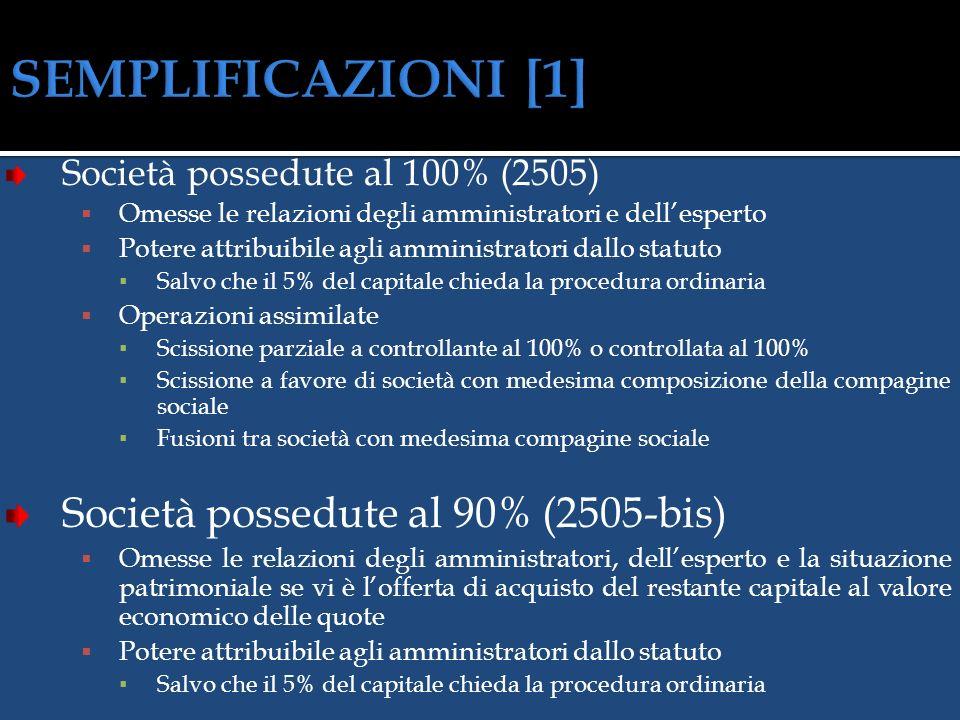 SEMPLIFICAZIONI [1] Società possedute al 90% (2505-bis)
